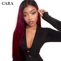 Бразильский 1B99J Фиолетовый Красный Ombre 360 синтетические волосы на кружеве al парик предварительно сорвал прямо бургундского цветн