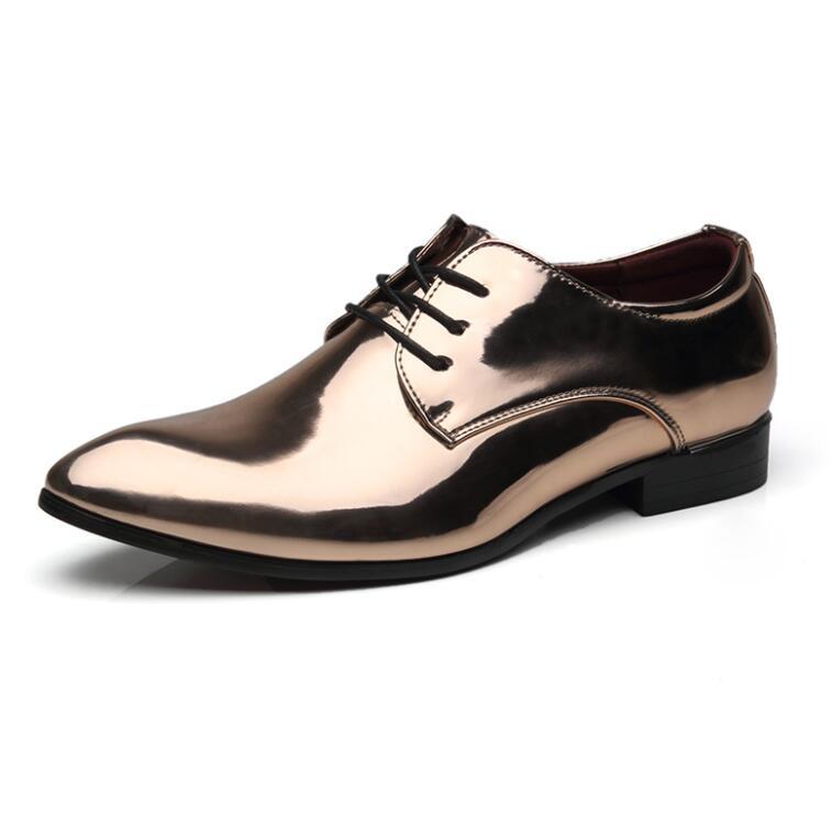VIVODSICCO moda hombres Oficina brillante patente cuero hombres ...