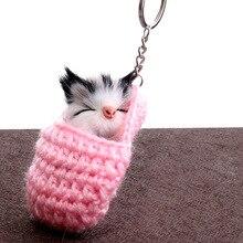 Mini Kawaii Plush Real Sleeping cat Fur keychain Soft Toys C