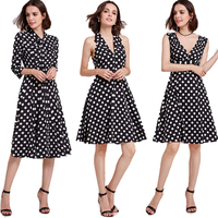 Ever Pretty Homecoming Dresses 2018 Cheap A line Polka Dot Cocktail Party Gowns Vintage Knee Length Short Girls Graduation Dress