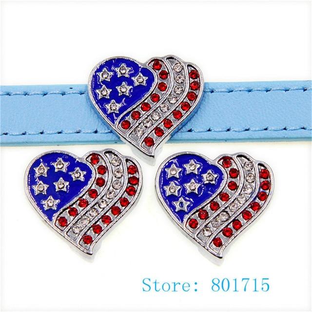 10pcs SL509 Rhinestone Flag heart Internal Dia. 10mm slide Charms fit 10mm  wristband pet collar key chain Jewelry Finding e47c2313f506