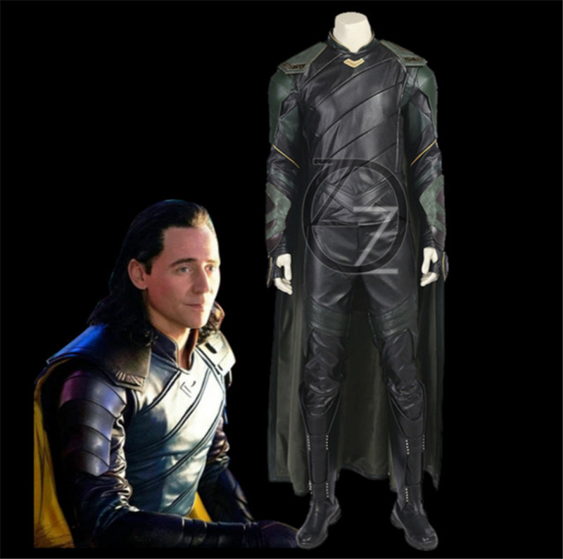 Thor Ragnarok Cosplay Costume Adult Loki Cosplay Costume Men Suit Leather Custom Made Halloween Costumes For Men