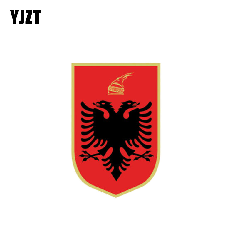 YJZT 6CM*9CM Car Styling Albania Flag Coat Of Arms PVC Decal Car Sticker 6-1091