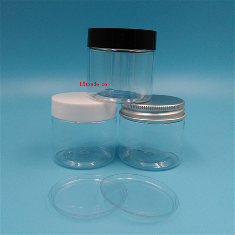 Free shipping 50g ml Lucency Plastic Cream empty packaging Jars black White Lid Lucency Plastic Bottles