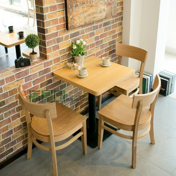 Small Size Dining Table Cafe Table Coffee Table Restaurant: Simple Cafe Table And Chair/solid Wood Ash Dining Chair