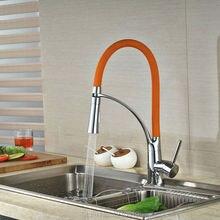 Uythner недавно хром пластины w/orange бассейна кран pull down носик кухня раковина кран смесителя на одно отверстие