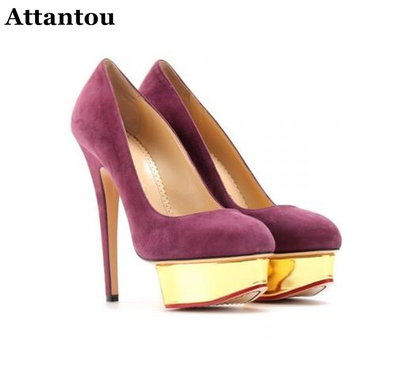 Attantou New Fashion Style Designer Star High Heel Shoes Elegant Thick Bottom Waterproof Lady Pumps Party Banquet Wedding Shoes