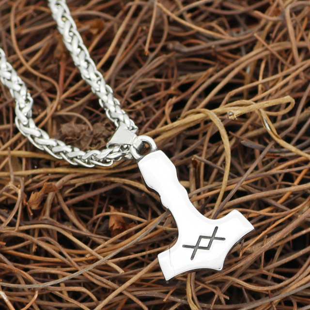 STAINLESS STEEL NORDIC VIKING MJOLNIR THOR HAMMER NECKLACE