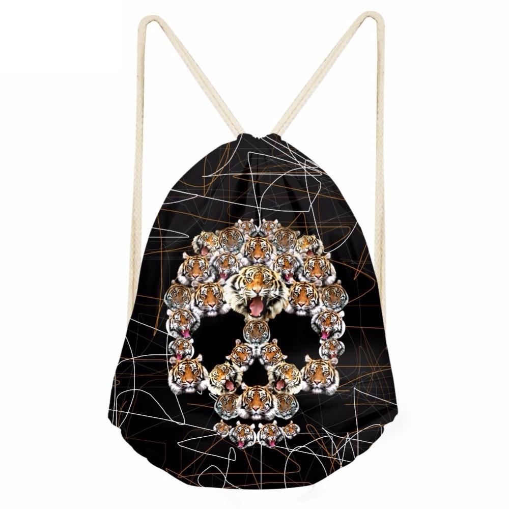 Fashion Men Drawstrings Bags Creative 3D Tiger Skull Head Printing Teen Boys Storage Backpacks Travel Punch