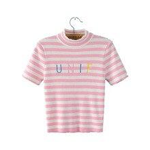 New 2017 Summer Korean Crop Tops Striped Cotton Short Sleeve T-shirt Women Top Tee Femme Loose t shirt Ladies Tops Pink Black