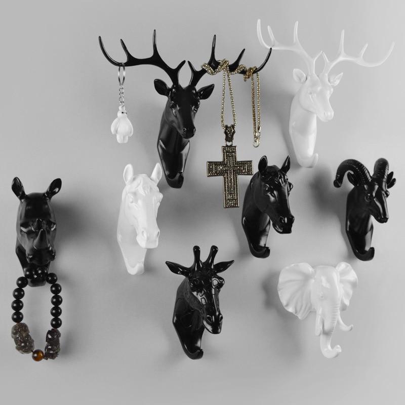 FUNIQUE Retro 3D Resin Animal Head Crafts Robe Hat Hooks Wall Vintage Deer Horse Giraffe Head Wall Hanger Creative Home Decor
