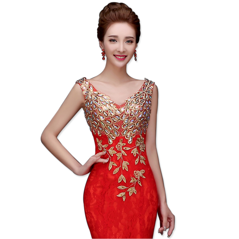 The new winter Slim host the annual show fishtail long section of the female dress (4 colors optional)