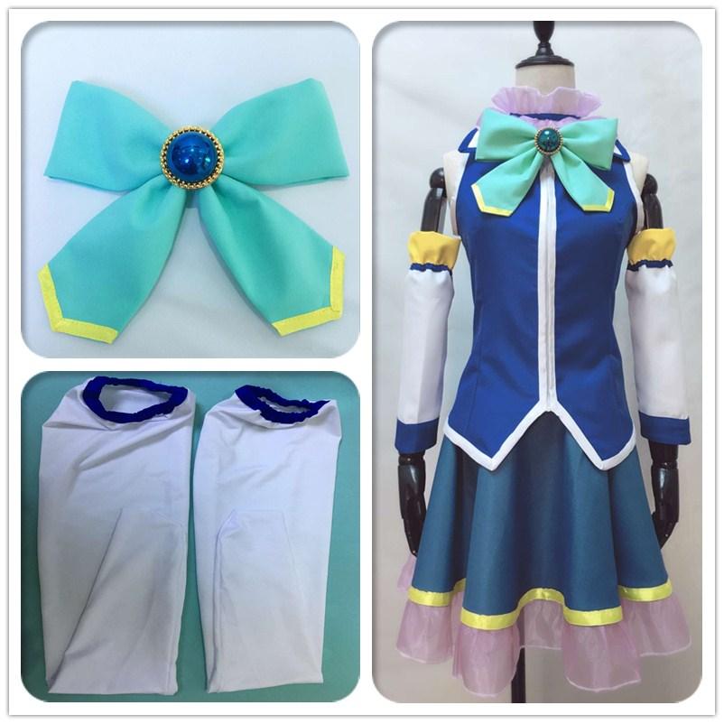 Anime Kono Subarashii Sekai ni Shukufuku wo Aqua Akua Cosplay Costume see through angel shirt