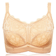 Plus Size Womens Full Coverage Bra Non-padded Underwear Lace Unlined Wireless Minimizer Lingerie 34~46 B C D E F G H