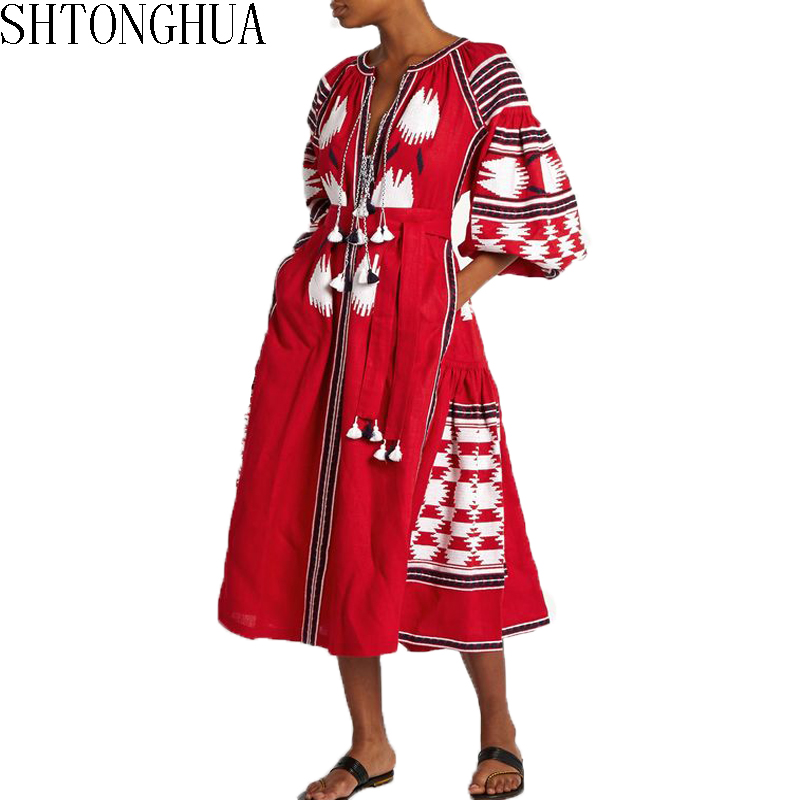 Summer Women Bohemian Dress 2019 Runway Embroidery Cotton And Linen Red Lantern Sleeve Ladies Holiday Beach