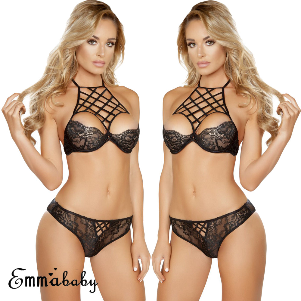 Plus Size Women Charm <font><b>Sexy</b></font> Lingerie Lace Babydoll G String Thong Underwear Nightwear Hollow Out Strap Bra+Panties <font><b>Exotic</b></font> Sets image