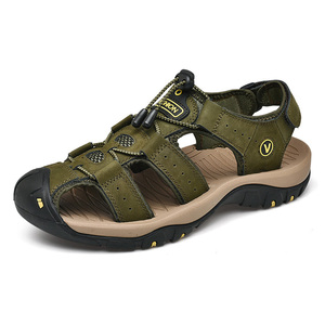 Image 5 - 2019 New Mens Sandals Summer Outdoor Non Slip Sandal Genuine Leather For Trekking Breathable Fashion Casual Shoes Size 47 48