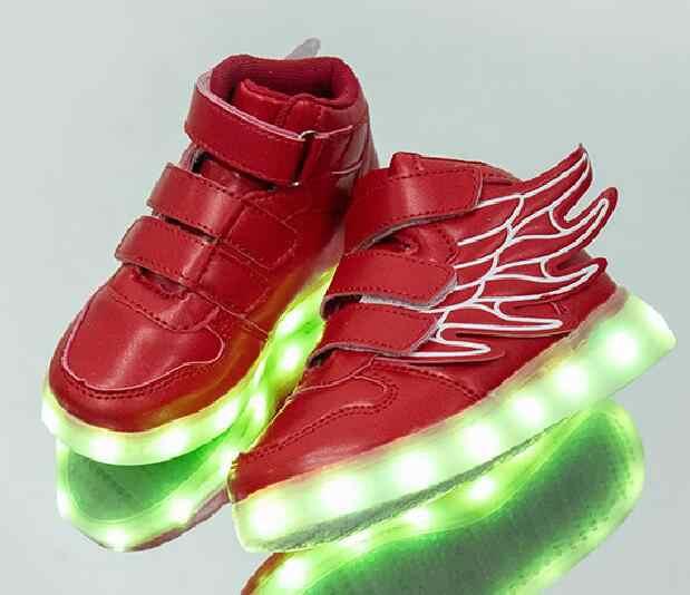 Nieuwe Usb Opladen Gloeiende Sneakers Kids Running Led Angel 'S Wings Kids Met Verlichting Up Lichtgevende Schoenen Meisjes Jongens Schoenen