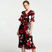 silk floral dress summer maxi women beach 2018 dresses long plus size boho sexy party casual elegant black printed rose flower