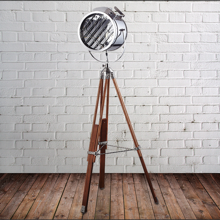 Nordic style wooden color tripod standing floor lamp with stainless steel lampshade