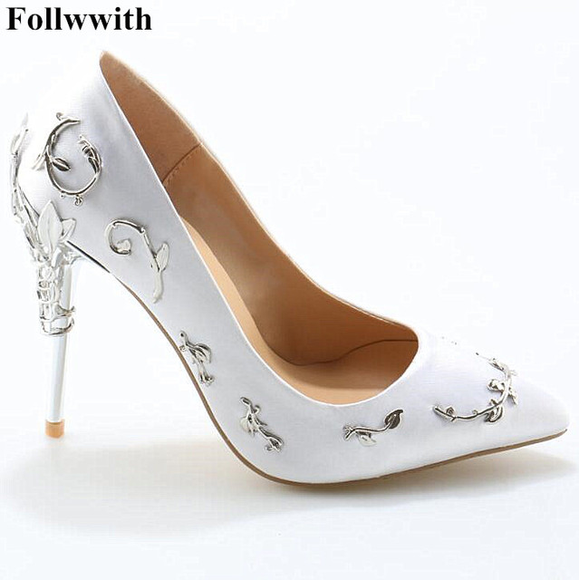 Ornate Filigree Leaf Party Women Shoes Chic Satin Stiletto Wedding Pointed Toe High Heels Bridal