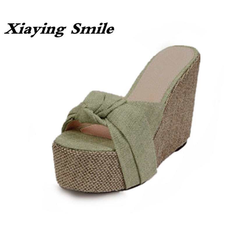 Xiaying Smile Summer Women Slippers Hemp Bowtie Solid Sandals Fashion Leisure Wedge Heel Creeper Slides Slippers Indoor Shoes