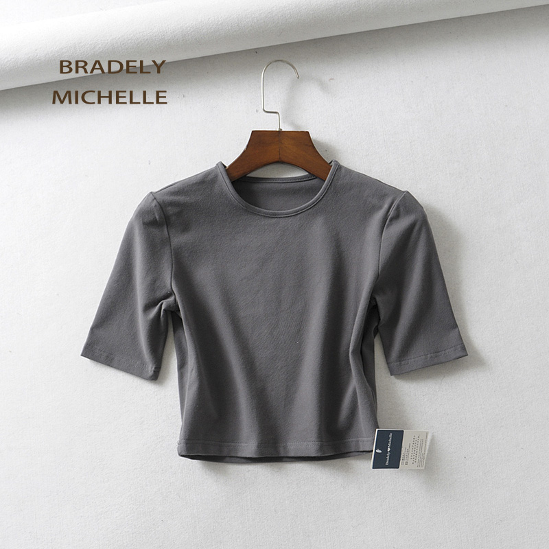 HTB1Rt6xafvsK1Rjy0Fiq6zwtXXas - BRADELY MICHELLE crop tops for women Sexy female pure cotton o-neck half-length sleeve solid elasticity shirt