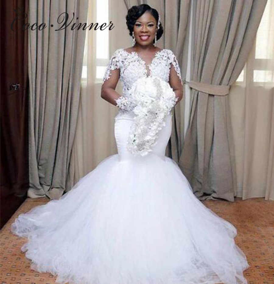 V neck Long Illusion Sleeve Tulle Mermaid Wedding Dresses 2019 Embroidery  Appliques Custom Made Pure White 8f54e5cababc