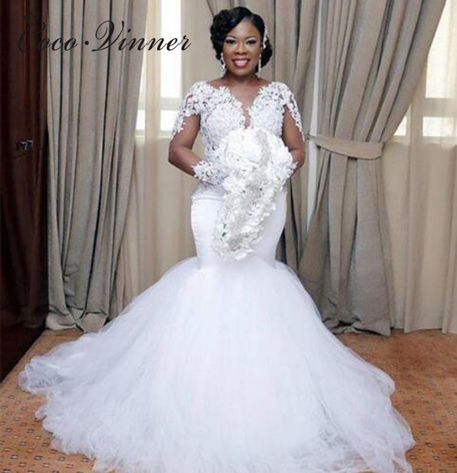 V Neck Long Illusion Sleeve Tulle Mermaid Wedding Dresses  Embroidery Appliques Custom Made Pure White Wedding Dress W0364