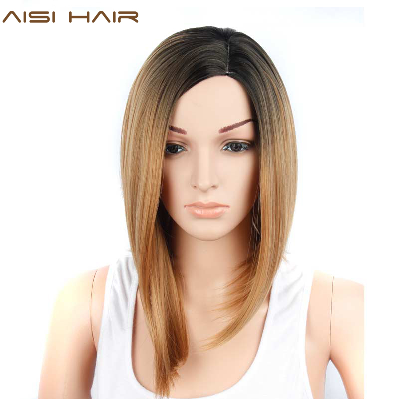 AISI HAIR Short Bob Cut Wigs for Black Women Synthetic Ombre Hair