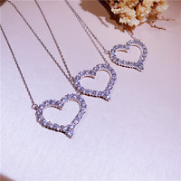 2017 Luxury Brand Fashion 925 Sterling Silver Jewelry 2 5CM Large Heart Pendant Necklace For Valentine