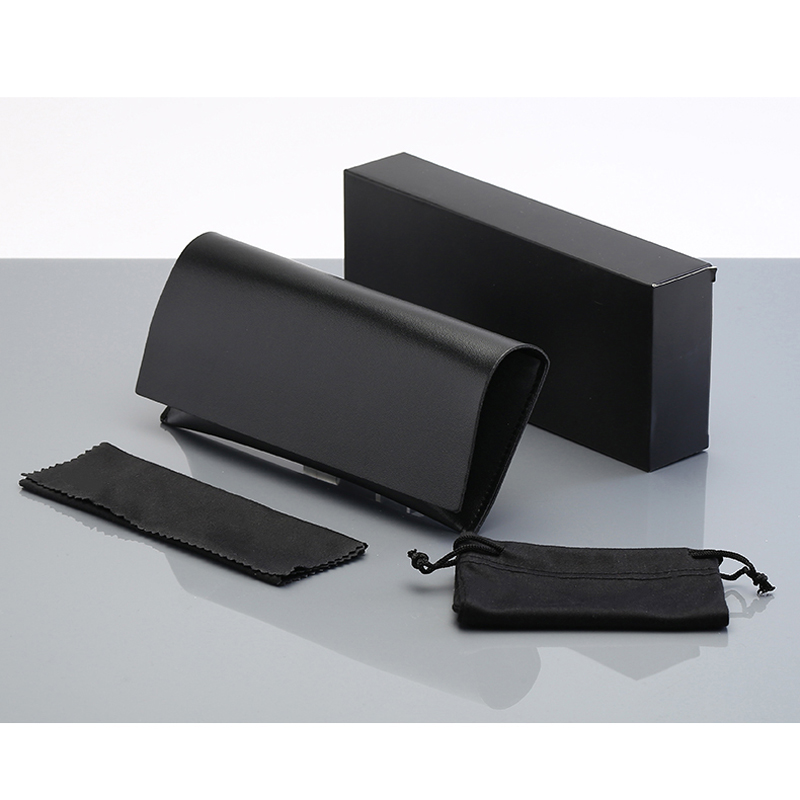 Peekaboo Custom Logo PU Leather Sunglasses Packaging Boxes Soft Case Glasses Box Women Men Black Dropshipping