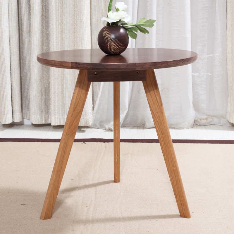 Living room furniture modern walnut wood end center accent for Small wooden side table