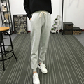 2017 spring autumn Fashion Women pocket Harem Pants loose Casual Slim Plus Size Cotton black gray Trousers Woman Clothing