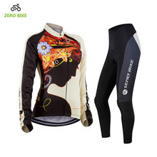 ZEROBIKE Pro Long Sleeves Women's Cycling Sets Breathable Bike Bicycle Wear Cycling Jersey Pants 4D Gel Padded Hot Ropa Ciclismo