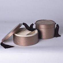 Простой Дизайн в Китайском Стиле Шкатулка с Макраме Небольшой Традиционный Леди Круглый Кожаный Ювелирные Изделия Ящик Для Хранения Домашнего Декора