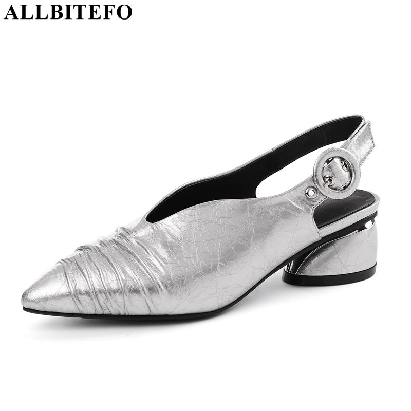 ALLBITEFO fashion retro genuine leather high heels women shoes high quality women high heel shoes dance girls shoes women heels-in Women's Pumps from Shoes    1