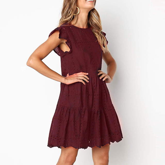 Hollow Out Ruched A-Line mini dress woman Ruffles Sleeve beach dress woman basic O-Neck dresses summer sukienka vestidos  #G6