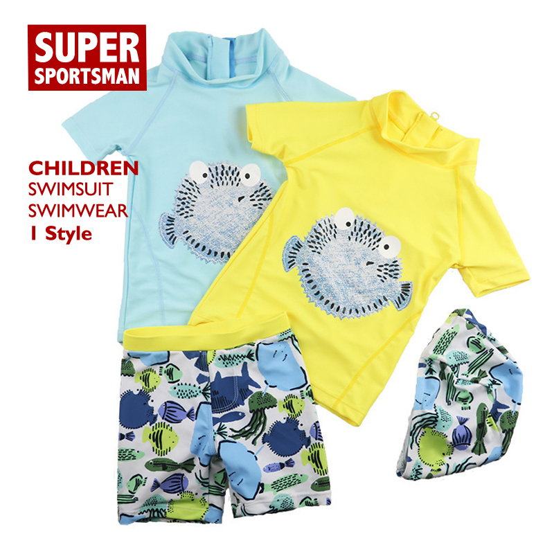 Children Cartoon Fish Swimsuit Kids Girl Beach Wear Rashguard Swimwear Baby Boy Swiming Bathing Hat+Shorts Surfing Swim Suit Set