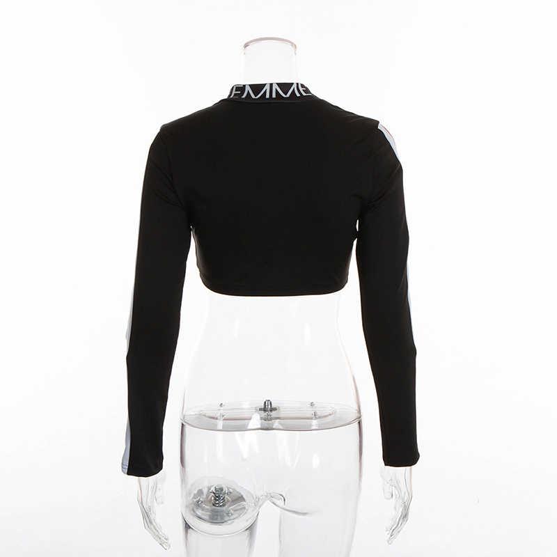 Simenual 手紙タートルネック女性の tシャツ長袖トップスリムカジュアル女性 tシャツ秋パッチワークトップス 2018 ファッション