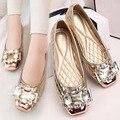 Nueva Mujer sexty Pisos Cristalinos de Las Mujeres Zapatos de Los Planos del Ballet Zapatos Dedo Del Pie cuadrado Zapatos de Conducción de Coches de cuero de LA PU Para Las Mujeres Del Diamante línea
