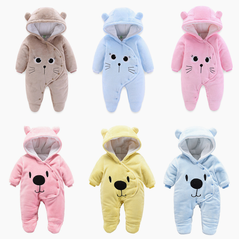 2018 new born Baby costume cute   Rompers   Winter Boy Cotton Newborn toddler girl Clothes Infant Jumpsuits warm clothing one piece