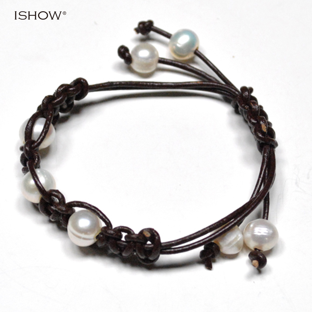 New Arrival Adjustable Handmade Leather Bracelet For Women Men 10mm  Freshwater Pearl Statement Unisex Rope Chain