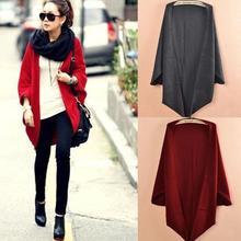 6 Colors 2017 Women Loose Shawl Batwing Sleeves Lady Knit Sweater Coat Woolen Women Cardigans Red/Black Free Size