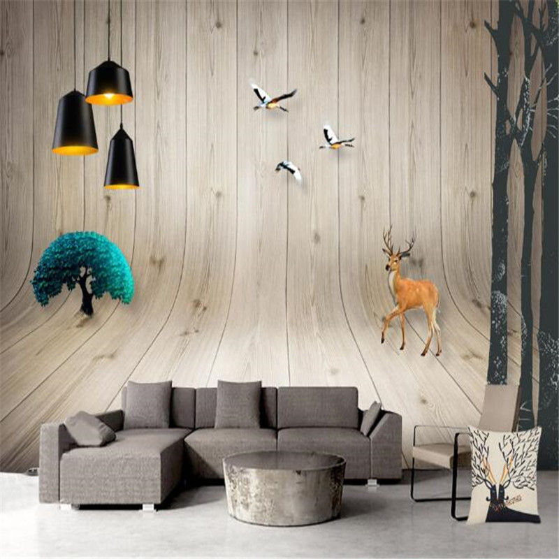 Creative Wallpaper 3D Stereoscopic Bend Brown Wood Photo Wall Mural Forest elk Wallpapers Wall Papers for Living Room Home Decor европейский стиль vintage wallpaper 3d stereo relief wood fiber mural кофейня ресторан заставка wall creative decor wallpaper