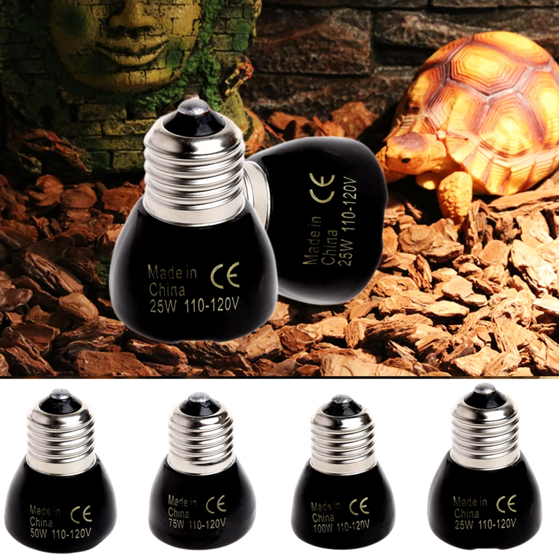Mini Infrared Ceramic Emitter Heat Lamp Bulb Black For Reptile Pet Brooder Pet Heating Light 25W 50W 75W 100W M12 dropshipping