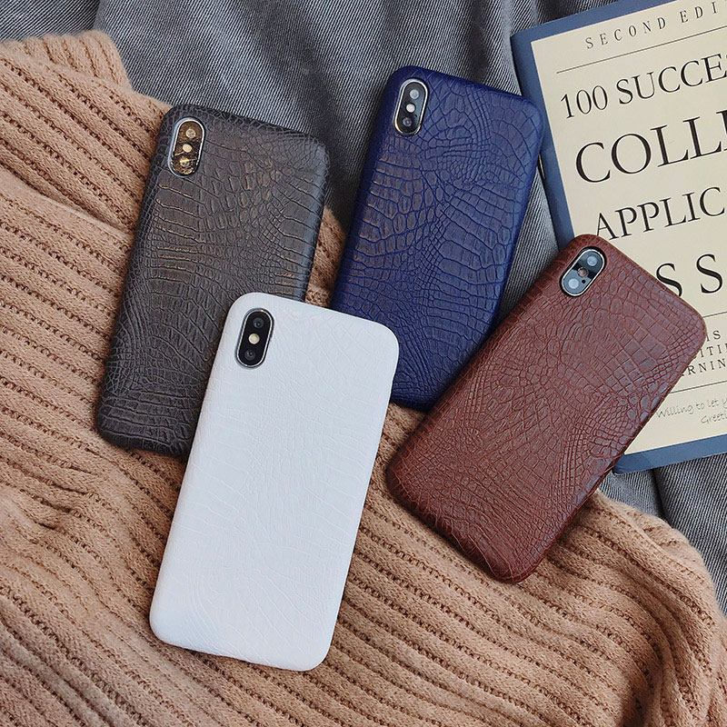 Crocodile Texture Skin Cover Phone Case Made Of Plastic Material For iPhone Models