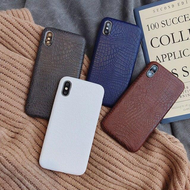 Boucho Için iphone Xs MAX XR X XS Durumlarda Timsah Doku telefon kılıfı Için iphone 5 5s SE 7 8 6 6 S artı Lüks PU deri kılıf