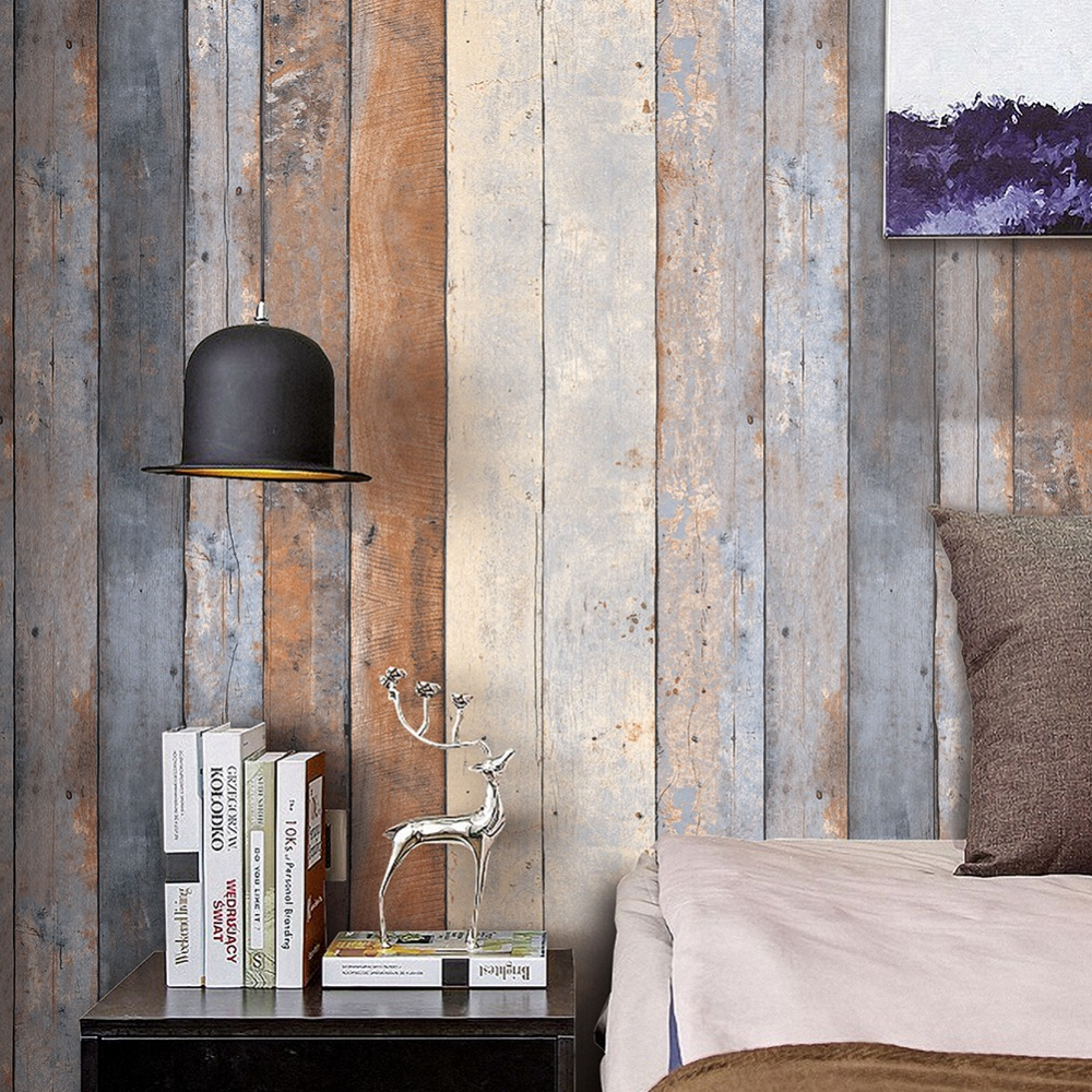 HaokHome Vintage Distressed Wood Wallpaper Rolls PVC Smoky Gray/Beige/Tan Wooden Plank Panel Mural Home Kitchen Bathroom Decor haokhome brick wallpaper rolls dark gray black blue distressed murals home kitchen bathroom decoration 20 8 x 32 8ft