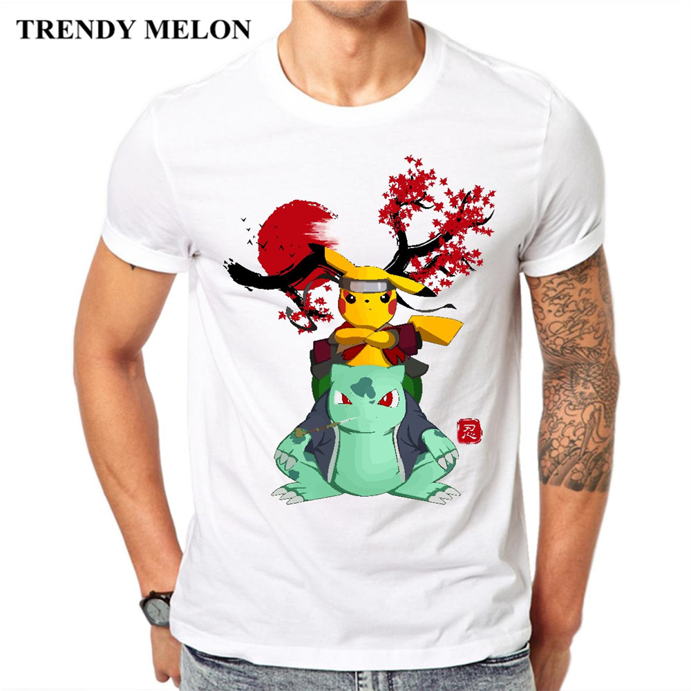 8dbab37b1f Trendy Melon Naruto Crossover Casual Men T shirt Pokemon Pikachu T-Shirt  Game Anime Short Sleeve Tees Cotton Tops Hipster JAH01